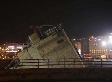Part of the collapsed bridge in Morandi bridge.