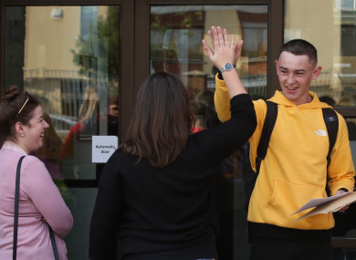 Dean Ryan holding his Leaving Cert results at Pobalscoil Neasáin, Baldoyle, Dublin last week.