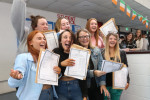 Students in Navan celebrating results last week.