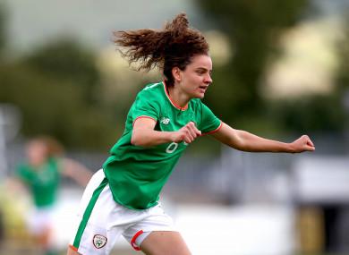 Leanne Kiernan celebrates scoring.