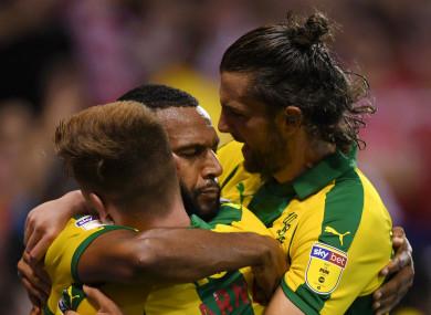 West Brom celebrate Matt Phillips' goal.