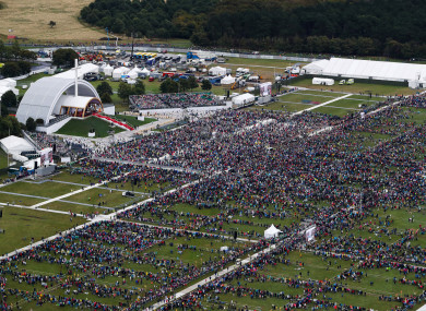 Crowds attend the Papal Mass in the Phoenix Park this afternoon.