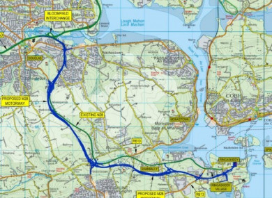 The planned M28 route from Cork city to Ringaskiddy.