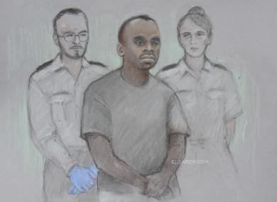Court artist sketch by Elizabeth Cook of 29-year-old Sudanese national Salih Khater, of Highgate Street, Birmingham.