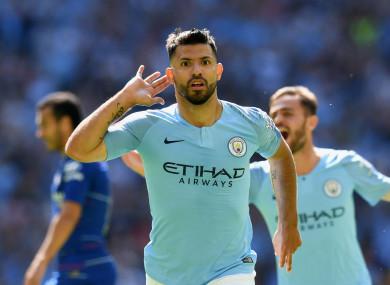 Sergio Aguero celebrates his 200th Manchester City goal