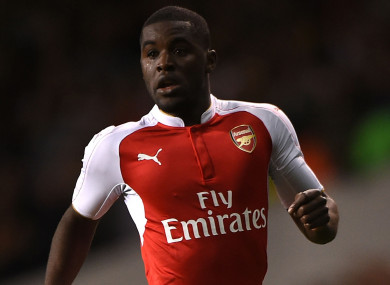 Joel Campbell in action for Arsenal.
