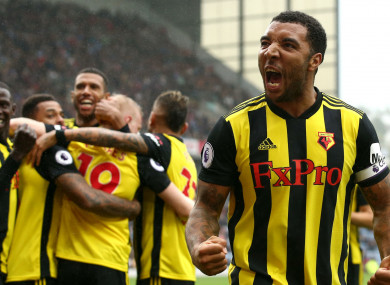 Watford captain Troy Deeney celebrates.