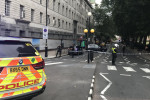 Police activity on Millbank, in central London, after a car crashed into barriers outside the Houses of Parliament.