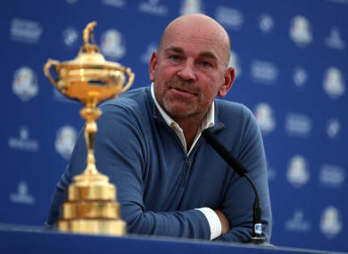Thomas Bjorn speaking at this afternoon's press conference in Paris.