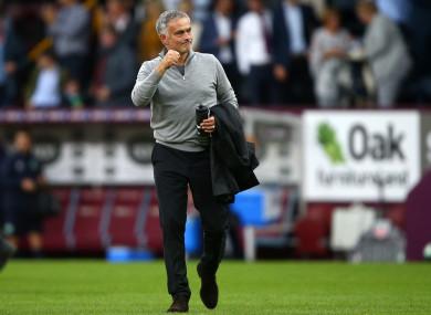 Mourinho celebrates United's win at Burnley.