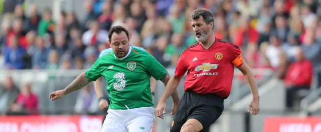 Man United player/manager for the day, Roy Keane, and Ireland's Andy Reid.