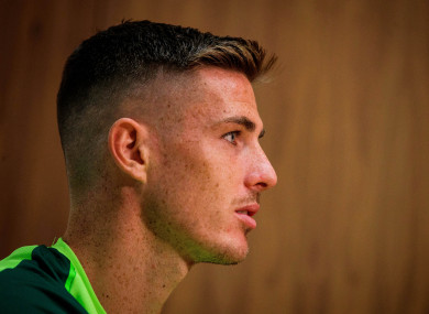 Ciaran Clark pictured at today's press conference.