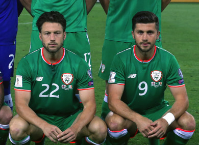 Ireland's Harry Arter and Shane Long.