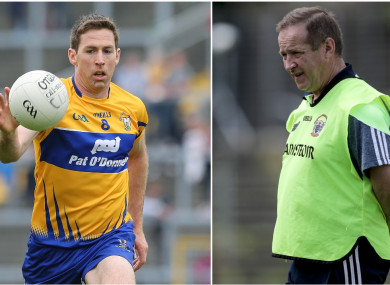 Clare footballer Gary Brennan and manager Colm Collins.