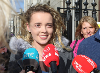 Rebecca Carter speaking to the media outside Four Courts