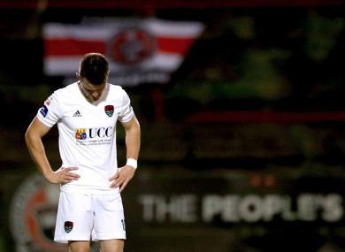 Cork's Steven Beattie dejected.
