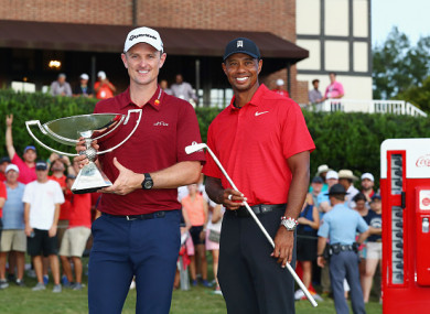 Rose and Woods celebrate their respective wins at East Lake.