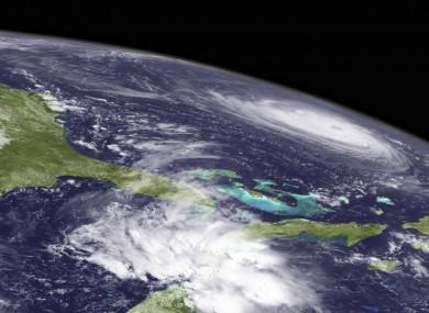 Satellite image shows Hurricane Florence in the Atlantic Ocean.