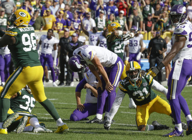 Carlson: rookie missed crucial kick to beat Green Bay on Sunday.