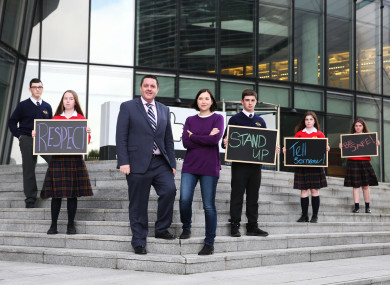 Professor James O Higgins Norman ABC Director and UNESCO Chair on Tackling Bullying in School and Cyberspace with Julie de Bailliencourt, Facbook Global Safety Policy Manager with students from Kylemore College Ballyfermot.