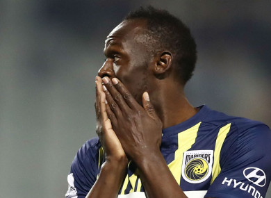 Usain Bolt playing for the Central Coast Mariners