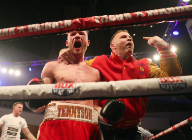 James Tennyson (L) and Mark Dunlop celebrate The Assassin's Irish title win over Declan Geraghty last year