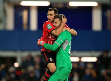 Southampton's Cedric Soares and goalkeeper Angus Gunn celebrate.