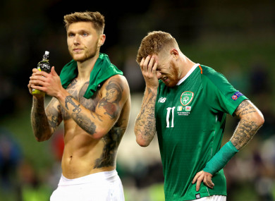 Jeff Hendrick and James McClean after full-time on Tuesday at the Aviva Stadium.