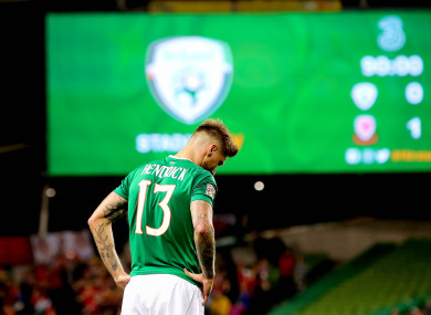 Jeff Hendrick dejected following Ireland's 1-0 defeat at home to Wales.
