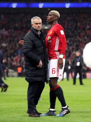 Man United manager Jose Mourinho and midfielder Paul Pogba.