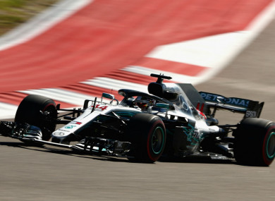 Lewis Hamilton in action at the United States Grand Prix