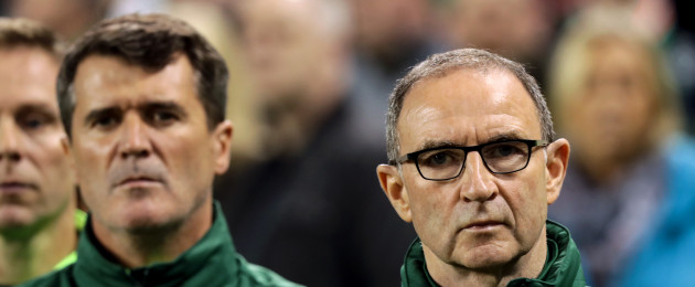 Ireland manager Martin O'Neill during the National Anthems last night.