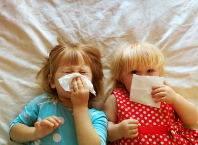 File photo of children blowing their noses