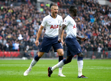 Eric Dier celebrates giving Tottenham the lead against Cardiff.