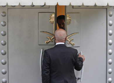 A man enters Saudi Arabia's consulate in Istanbul today.
