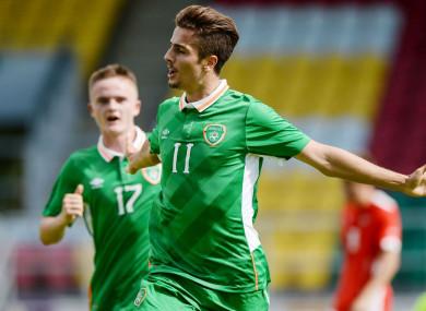 Elbouzedi celebrates scoring for Ireland's U19s against Austria in September 2016.