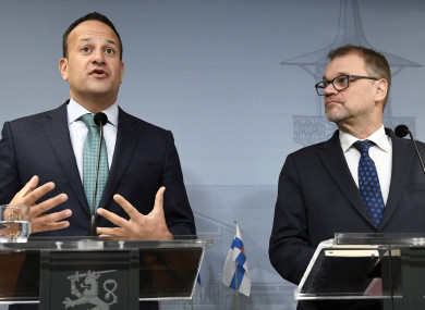 Finland's Prime Minister Juha Sipila, right, and Taoiseach Leo Varadkar attend a press conference at the Prime Minister's official residence Kesaranta in Helsinki, Finland.