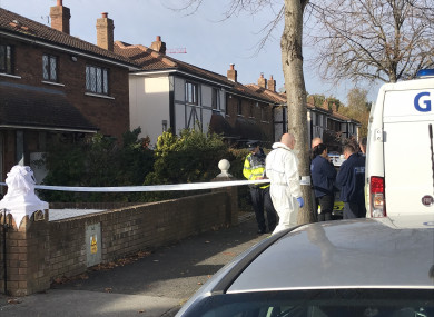 Forensic teams at the scene this morning.