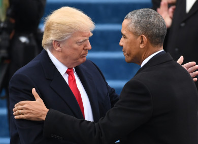 Donald Trump and Barack Obama during the current president's inauguration.