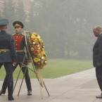 South African President Jacob Zuma, right, takes part at a wreath laying ceremony at the Tomb of the Unknown Soldier in Moscow.<span class=
