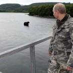 Putin stares down a bear while visiting the South Kamchatka Federal Sanctuary in the east of Siberia last week. (AP Photo/RIA Novosti, Alexei Druzhinin, Pool) <span class=