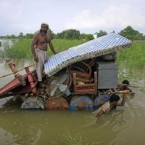 Pakistani flood survivors shift their belongings to safer areas in Khangarh near Multan, Pakistan. (AP Photo/K.M. Chaudary)