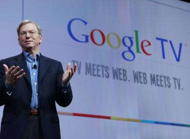 Eric Schmidt launching Google TV at Google's I/O conference earlier this year.