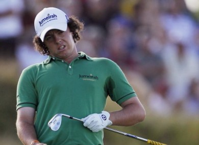Rory McIlroy had little to smile about in a round that included not one birdie.