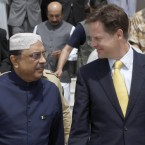 Britain's Deputy Prime Minister Nick Clegg (Right) speaks to Pakistan's President Ali Zardari, at the airport in the town of Sukkur, during a visit to southern Pakistan. (Andrew Winning/PA Wire/Press Association Images)<span class=