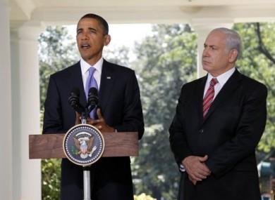 President Obama speaks outside the Oval Office today, accompanied by Israeli Prime Minister Benyamin Netanyahu.