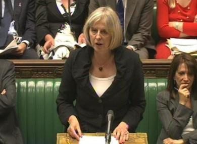Britain's Home Secretary, Theresa May.