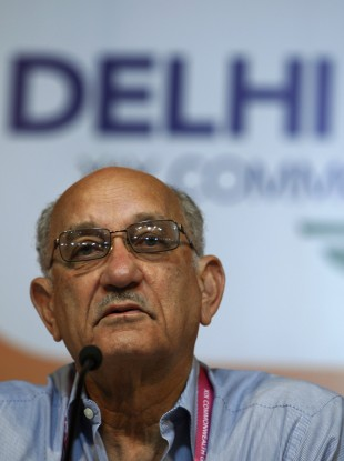 Commonwealth Games Federation President Mike Fennell looks on during a press conference in New Delhi,