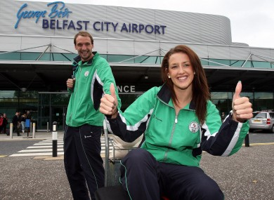 Andrew Bree and Melanie Nocher arrive in Belfast to depart for Delhi where they will represent Northern Ireland.