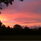 Sky over park, Glasnevin. 7.26am. Photo by Adrian Weckler.